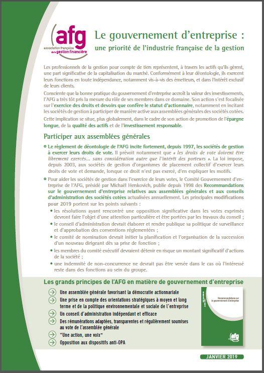 Le gouvernement d'entreprise : une priorité de l'industrie française de la gestion