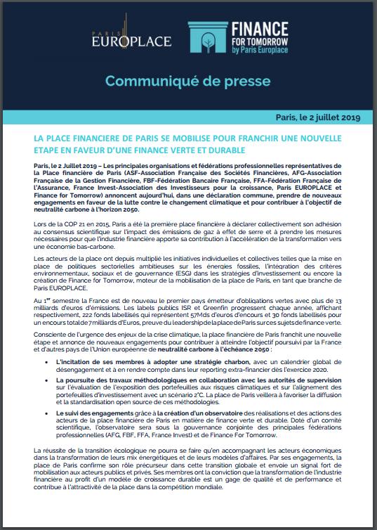 Déclaration de la Place financière de Paris pour une finance verte et durable : Point d'étape