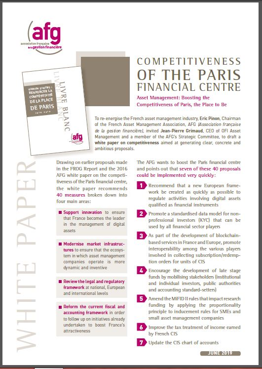"Brochure : White Paper ""Competitiveness of the Paris Financial Centre"""