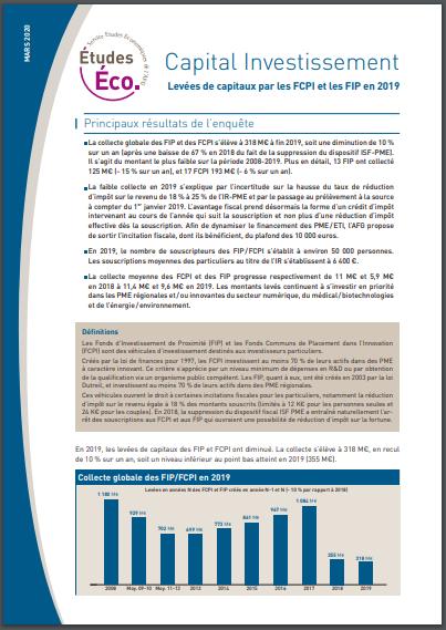 """Principaux résultats de l'enquête """"Capital Investissement : levées de capitaux par les FCPI et les FIP en 2019"""""""