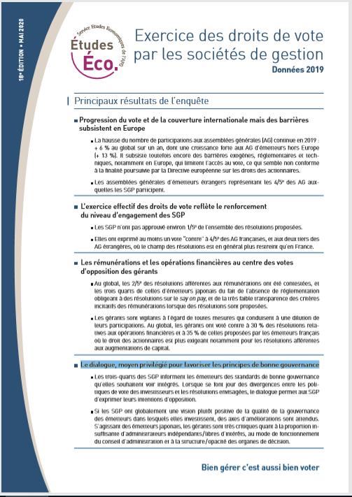 Exercice des droits de vote par les sociétés de gestion - Données 2019