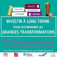 Concours des Mémoires de l'Économie et de la Finance du CPF - Investir à long terme pour accompagner les grandes transformations